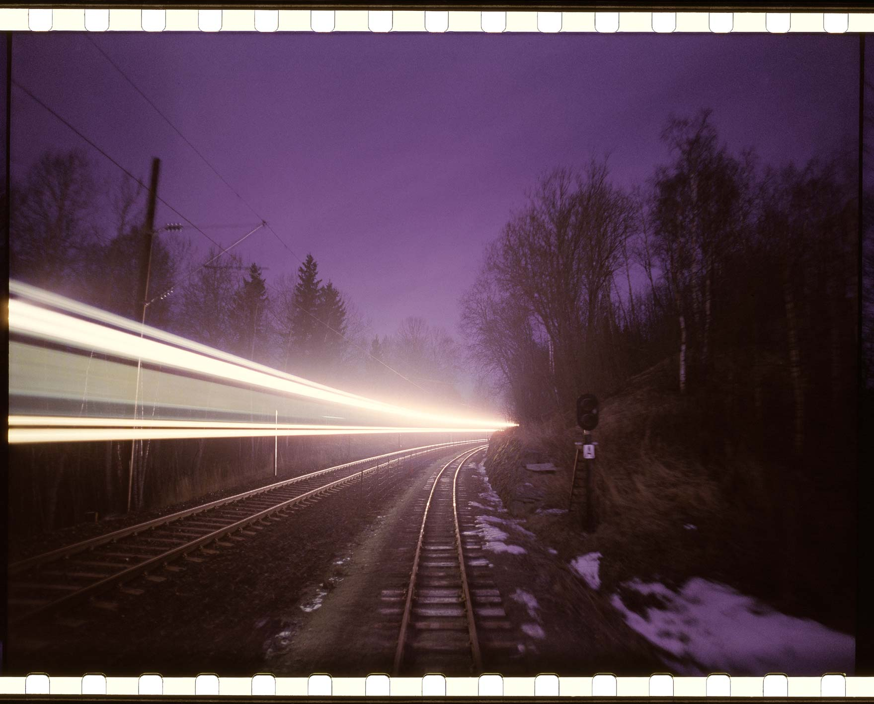 """Where the Trains used to go"" - One 15perf 70mm frame, night scene"